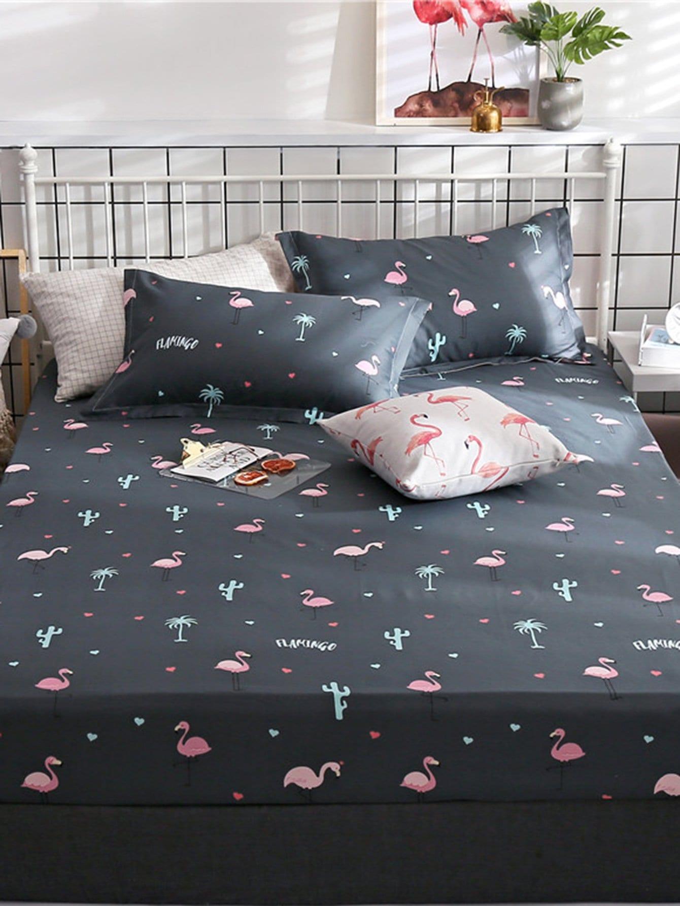 Купить Удобное постельное бельё с рисунками фламинго 1 шт, null, SheIn
