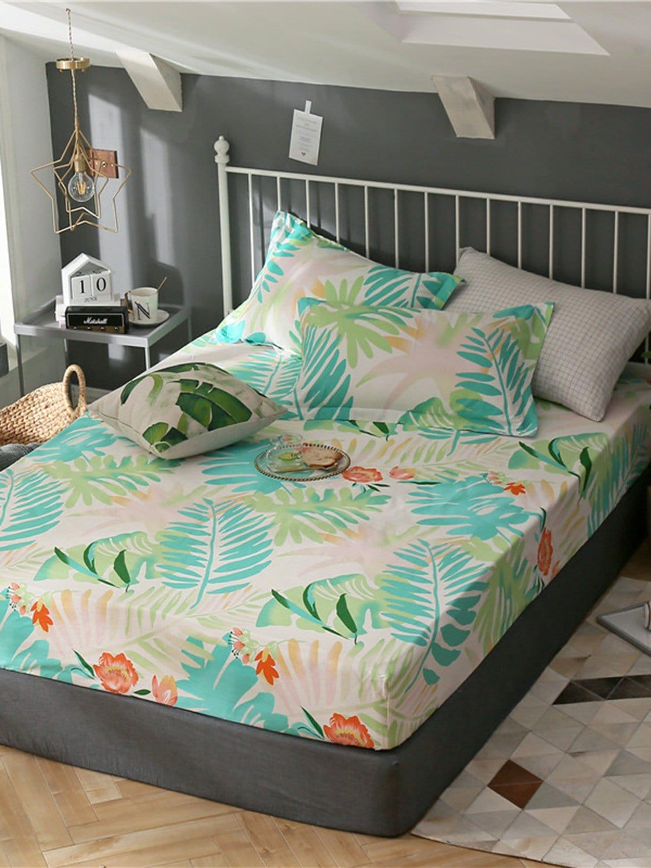 Купить Удобное постельное бельё с рисунками листьев 1 шт, null, SheIn