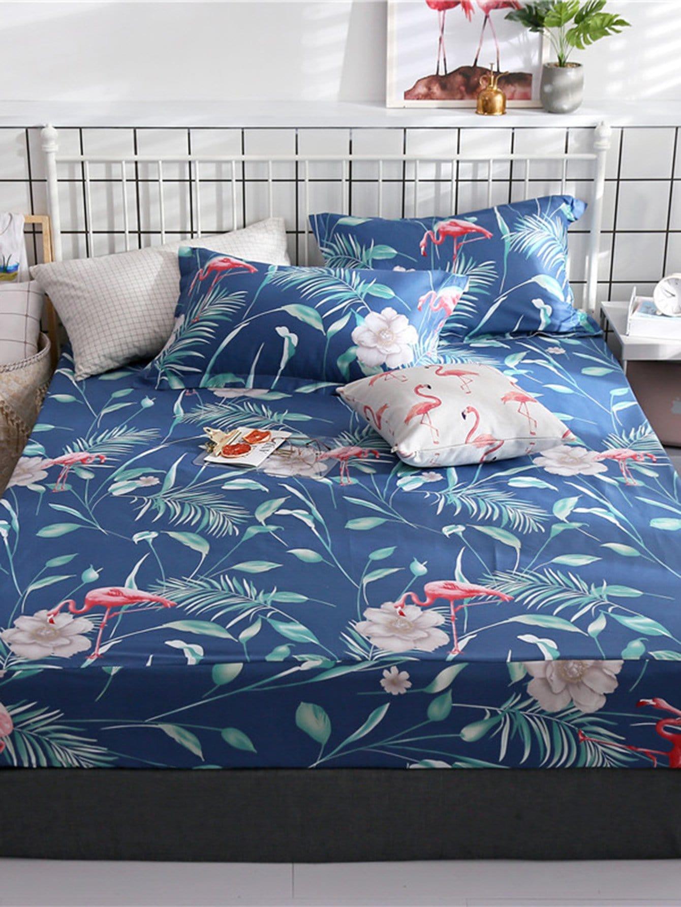 Купить Удобное постельное бельё с рисунками фламинго и листьев 1 шт, null, SheIn