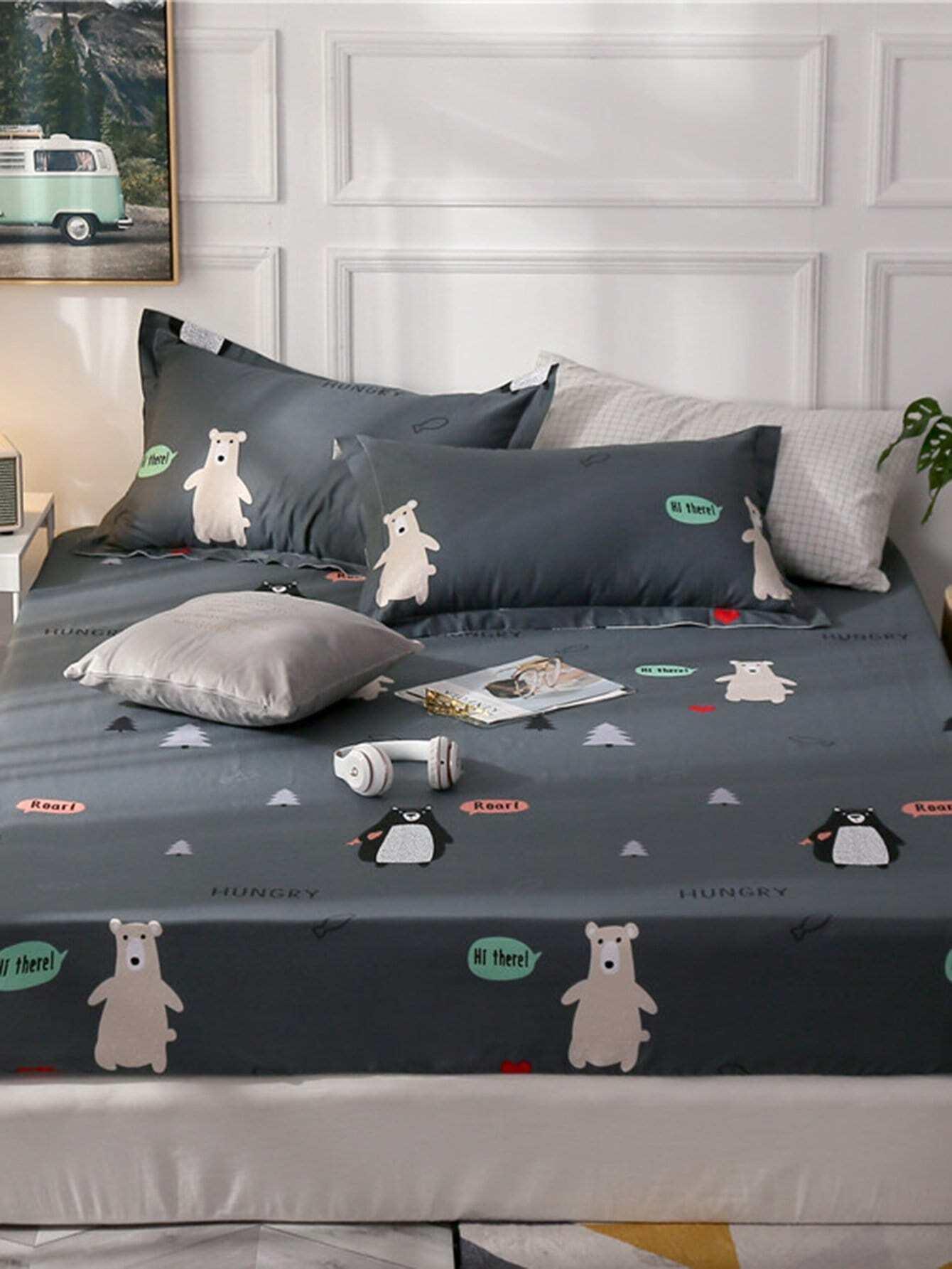 Купить Удобное постельное бельё с рисунками медведя и буквы 1 шт, null, SheIn