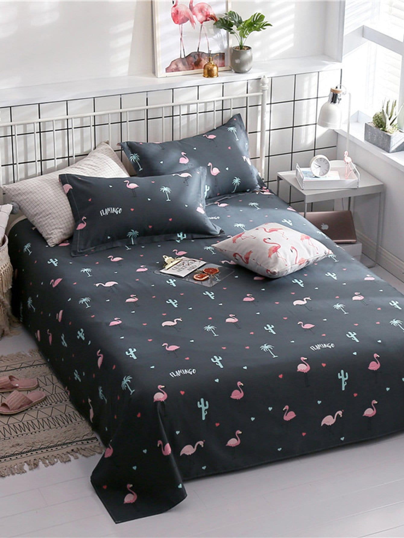 Купить Плоское постельное бельё с рисунками фламинго 1 шт, null, SheIn