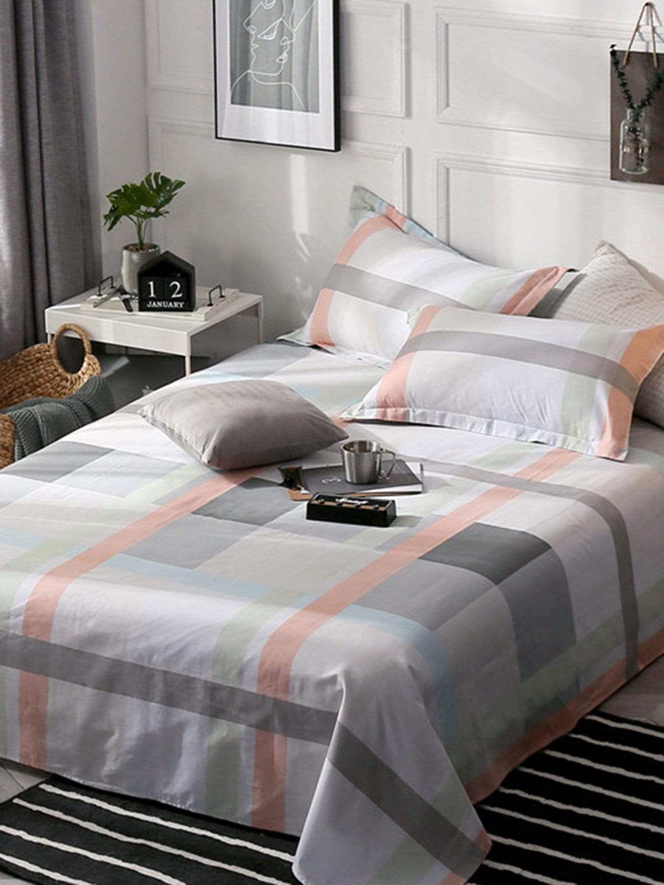 Contrast Plaid & Striped Print Flat Sheet 1 PC