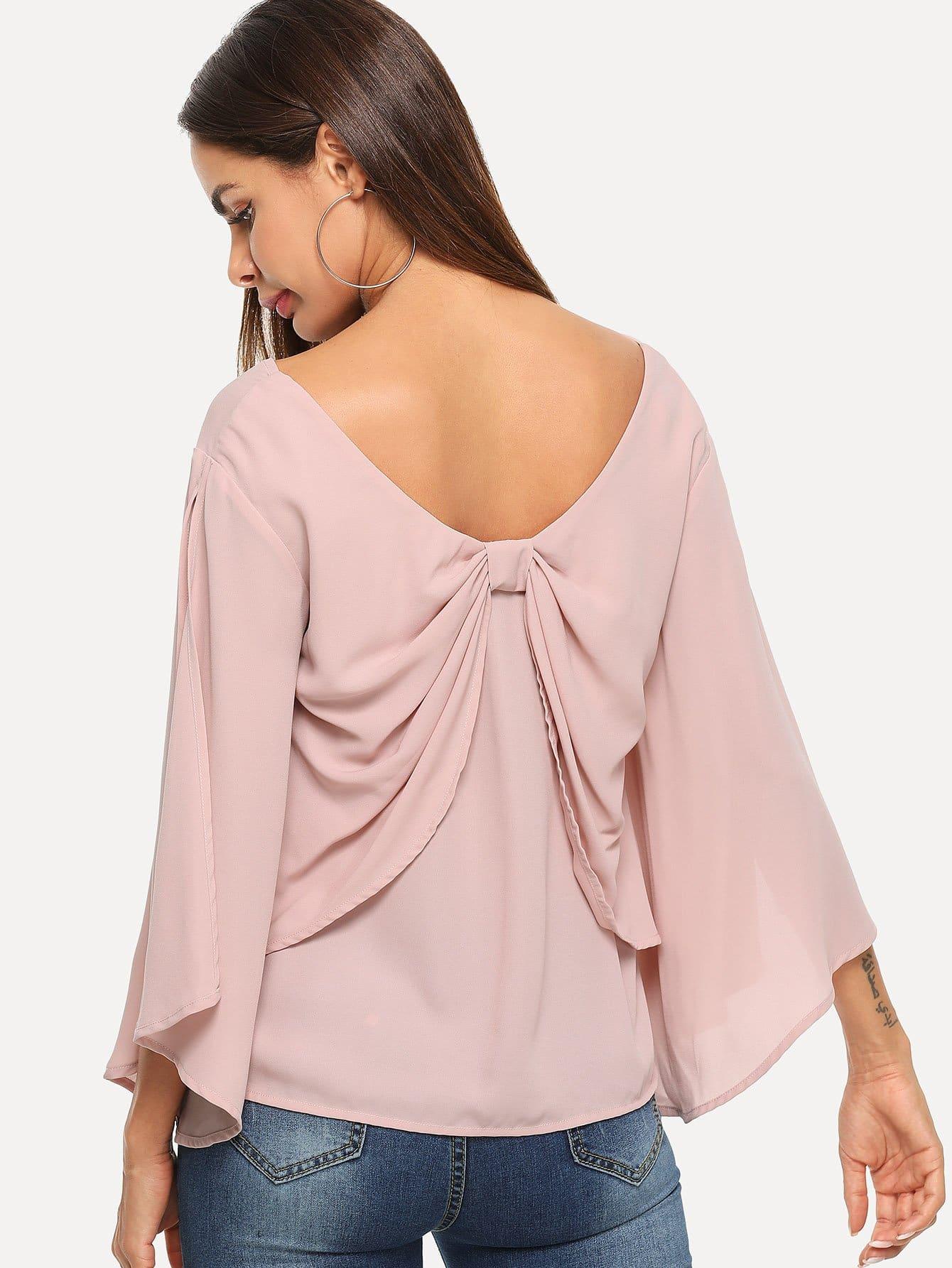 Купить Блуза с V-образным вырезом и рукав с вырезом, Andy, SheIn