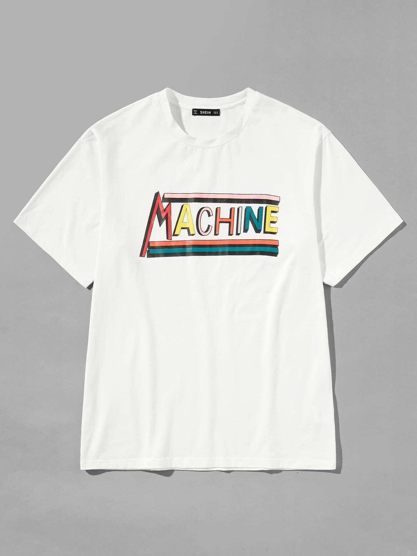 Купить Простая футболка с рисунками буквы для мужчины, null, SheIn