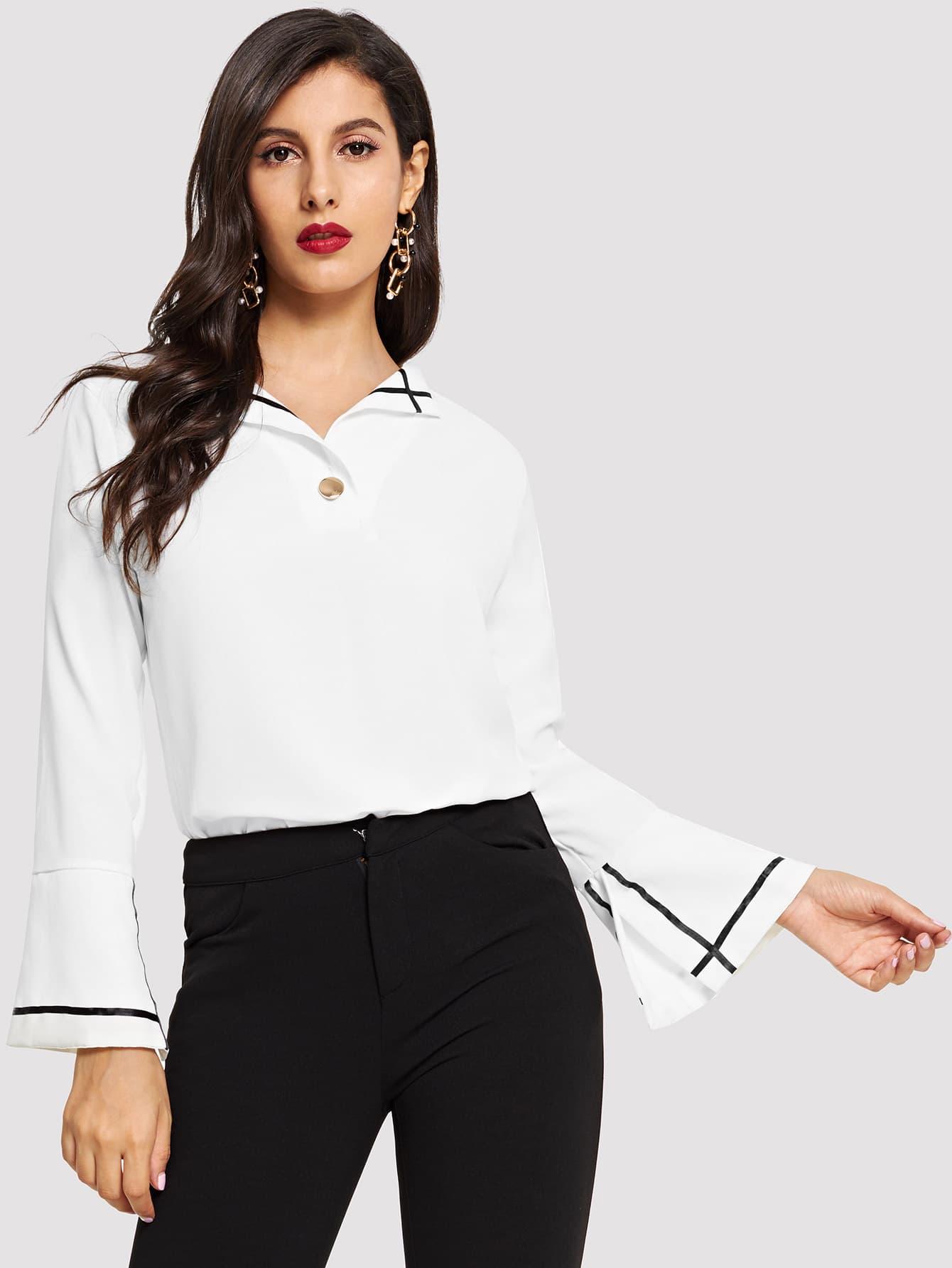 Блуза с рукав-колоколами и со симметрическими Binding