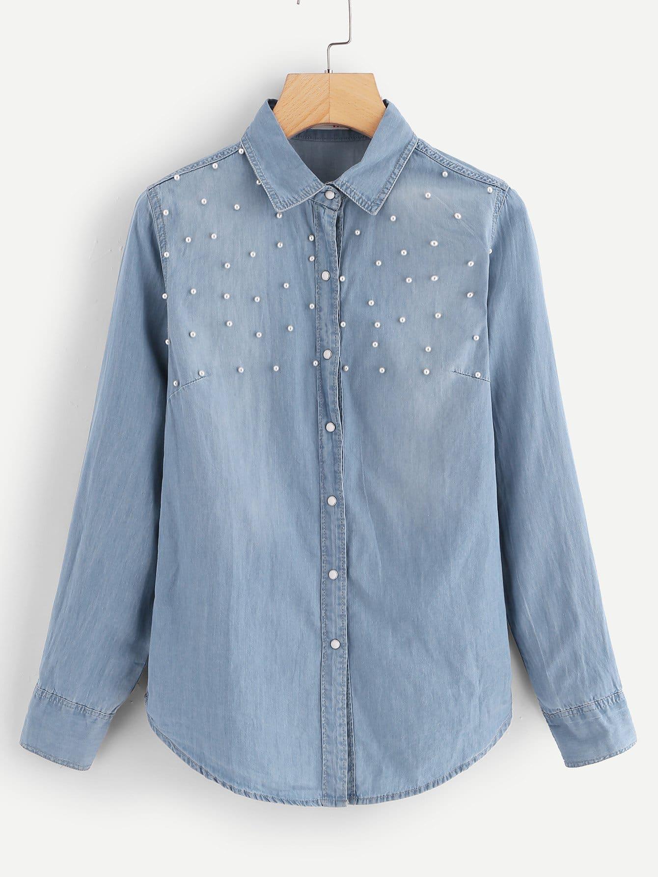 Купить Джинсовая футболка с украшением искусственных жемчугов, null, SheIn
