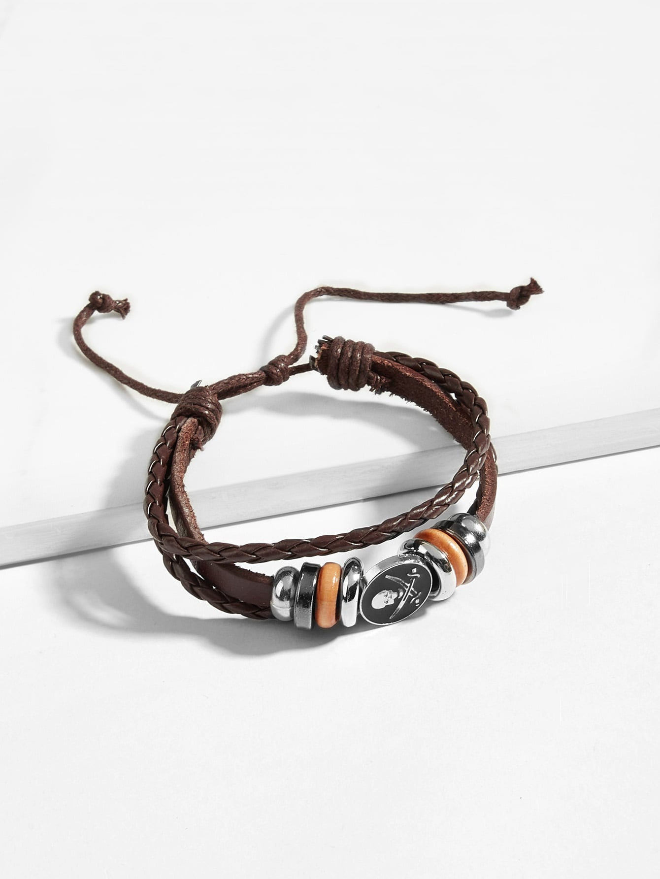 Слойный оплетённый браслет с украшением скелета для мужчины, null, SheIn  - купить со скидкой