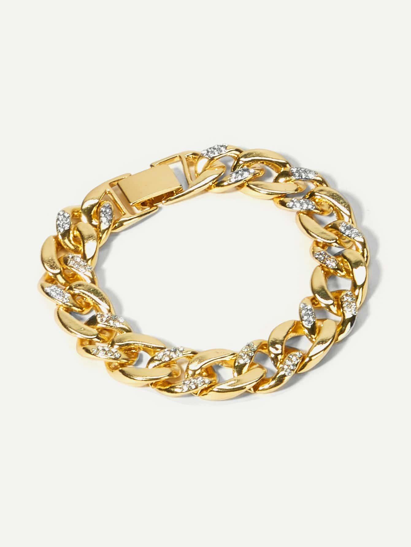 Men Rhinestone Engraved Chain Bracelet