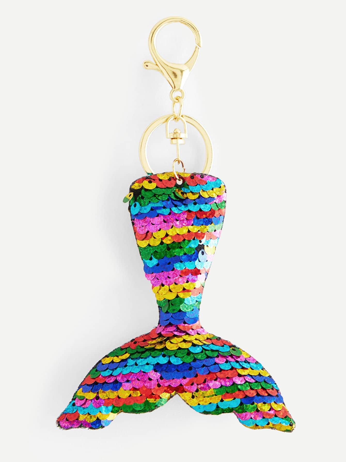Color Block Sequin Fishtail Keychain