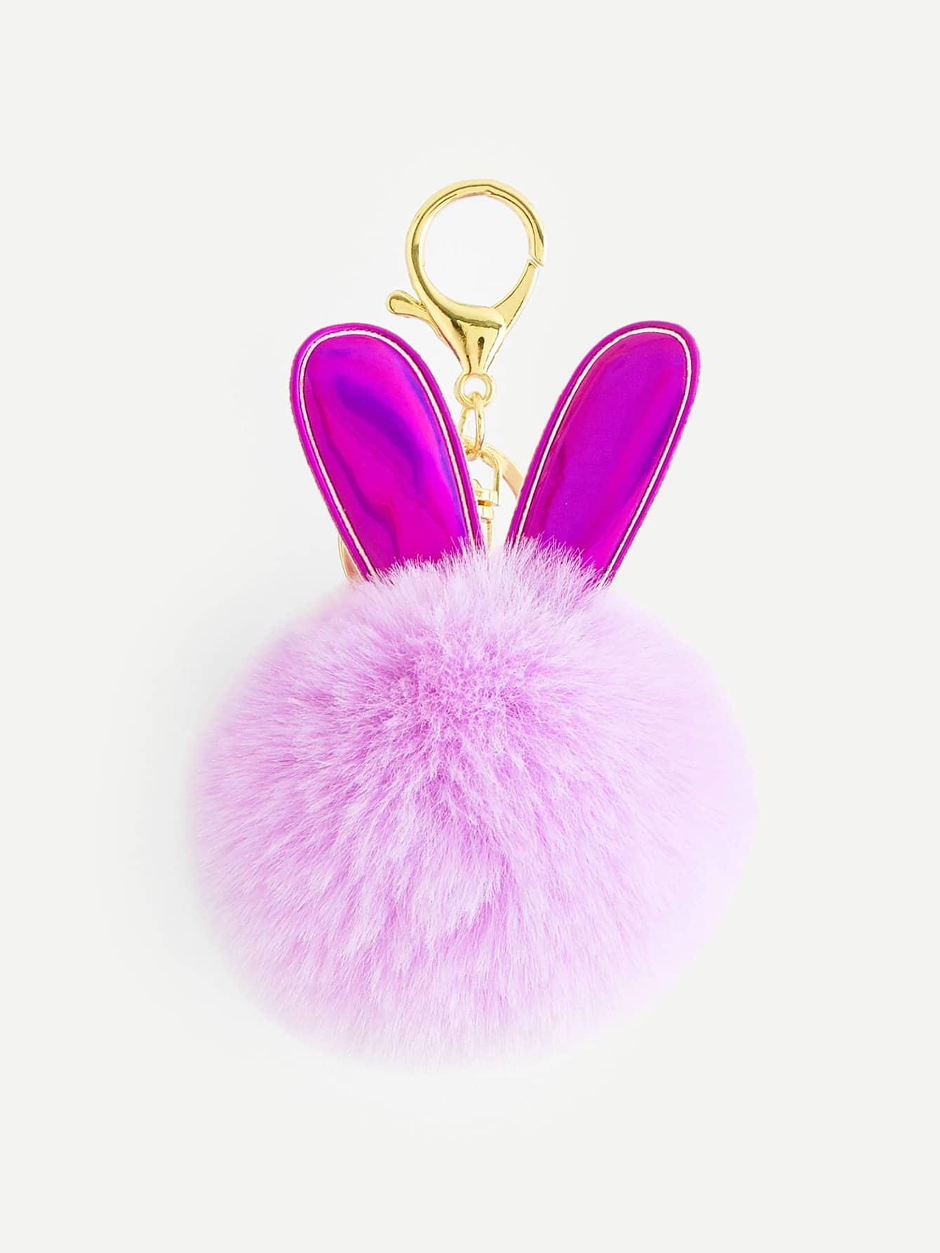 Купить Брелок для ключей помпона с украшением уха кролика, null, SheIn