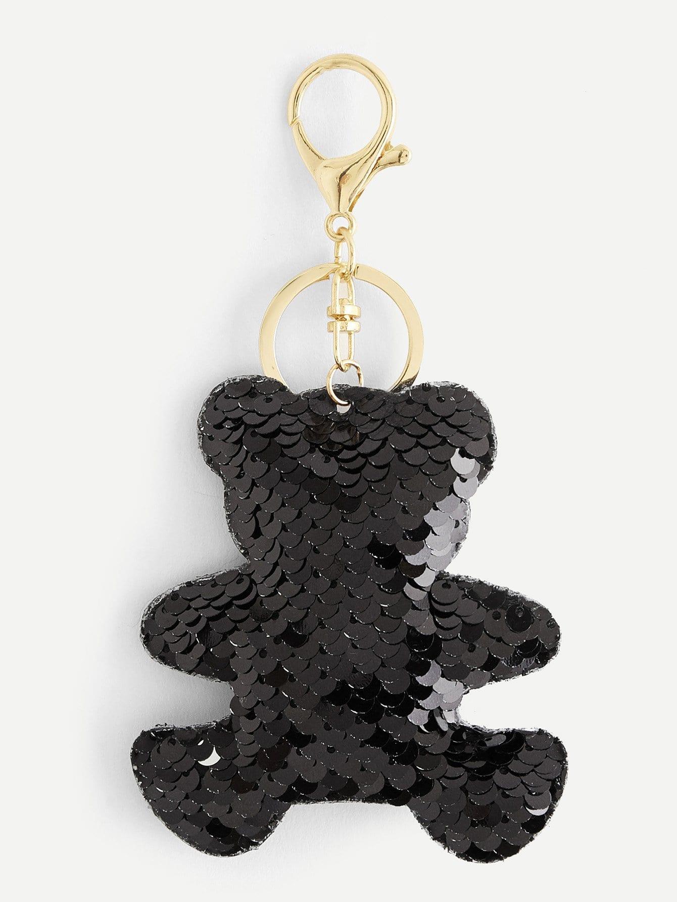 Брелок для ключей пайетки в форме медведя, null, SheIn  - купить со скидкой