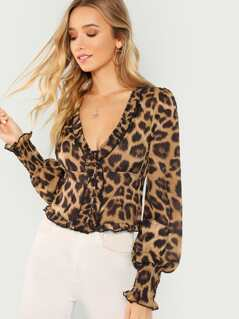 Leopard Long Sleeve Smocked Hem Top