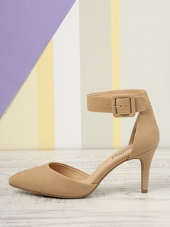 Faux Leather Side Buckle Heel