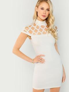 Cage Cut Out Yoke Sleeveless Dress
