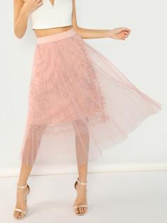 Embroidered Mesh Skirt