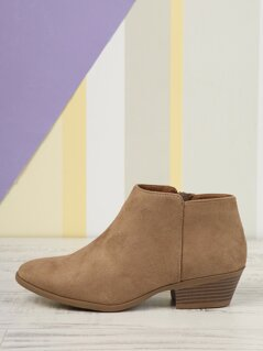 Inner Zip Block Stacked Heel Ankle Booties