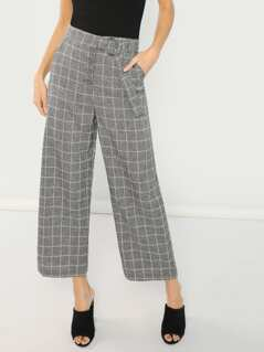 Checked Wide Leg Trouser