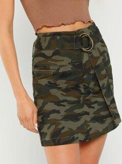 Belted Waist Camo Print Skirt