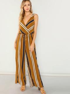 Striped V-Neck Jumpsuit