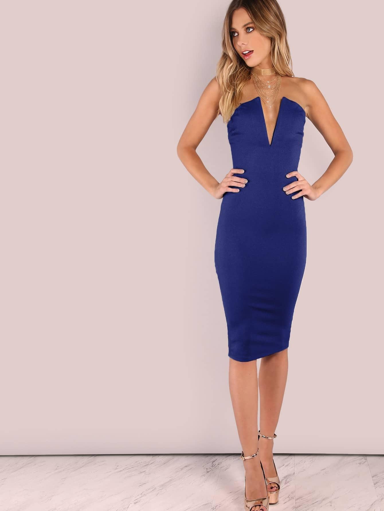 Купить Без бретелек платье с глубоким воротником, Hannah Kirkelie, SheIn
