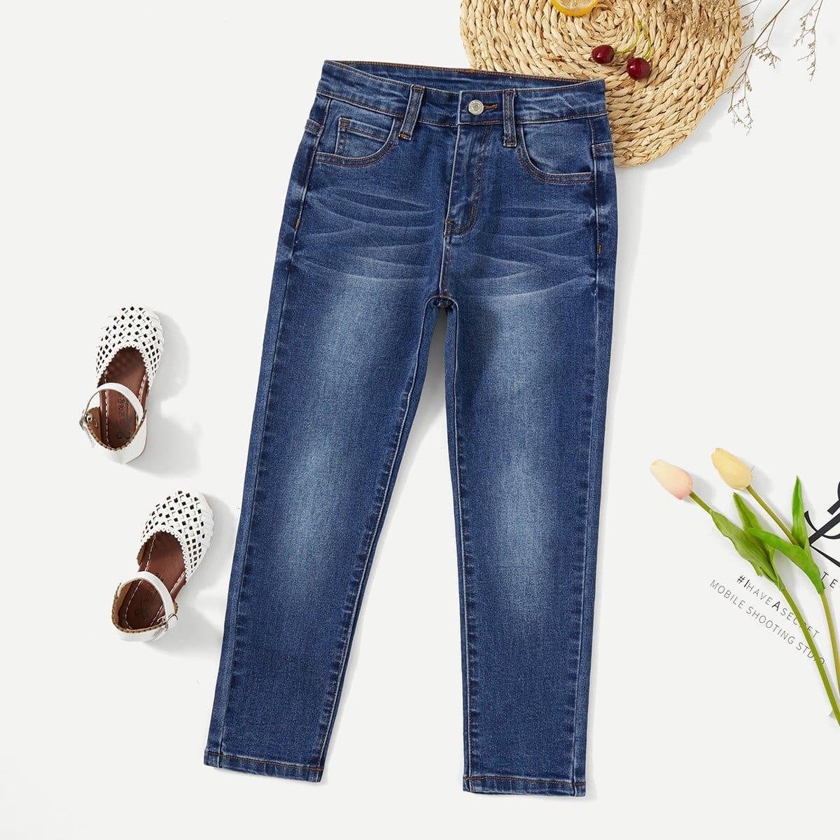 Отбеленные облегающие джинсы для девочки