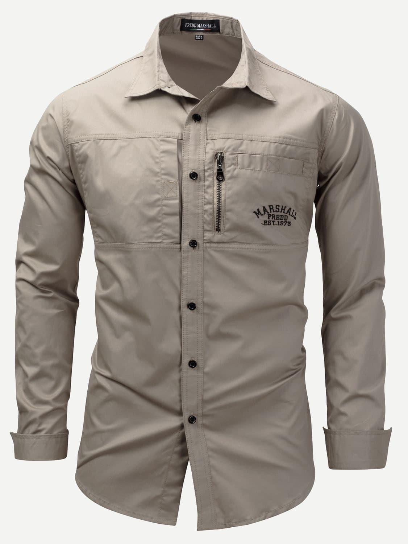 Купить Мужская молния Детальная вышивальная рубашка, null, SheIn