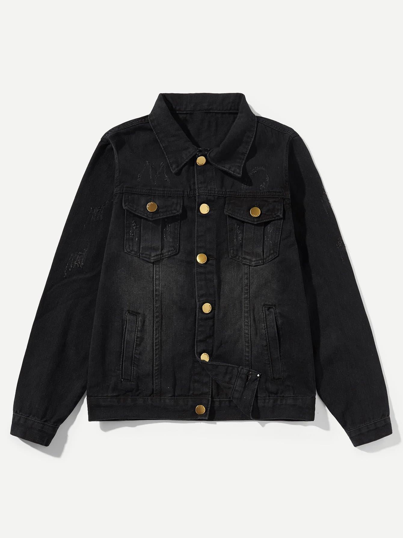 Кнопка Мужская Украшения Промывают Джинсовая Куртка