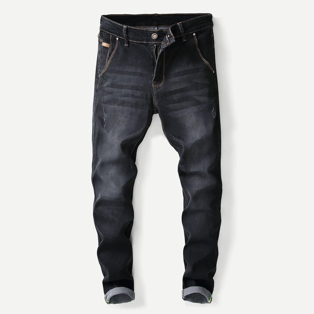 Zwart Casual Vlak Heren Jeans
