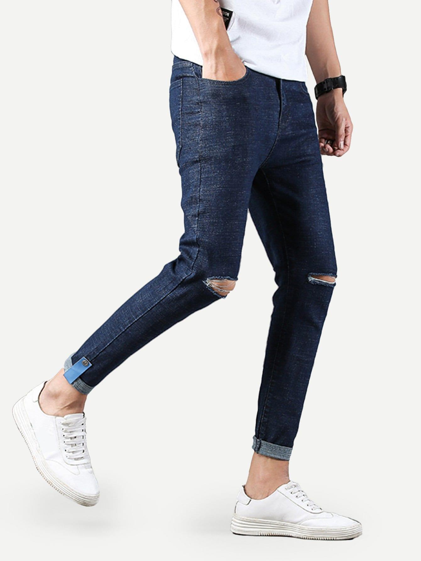 Купить Простые облегающие рваные джинсы для мужчины, null, SheIn