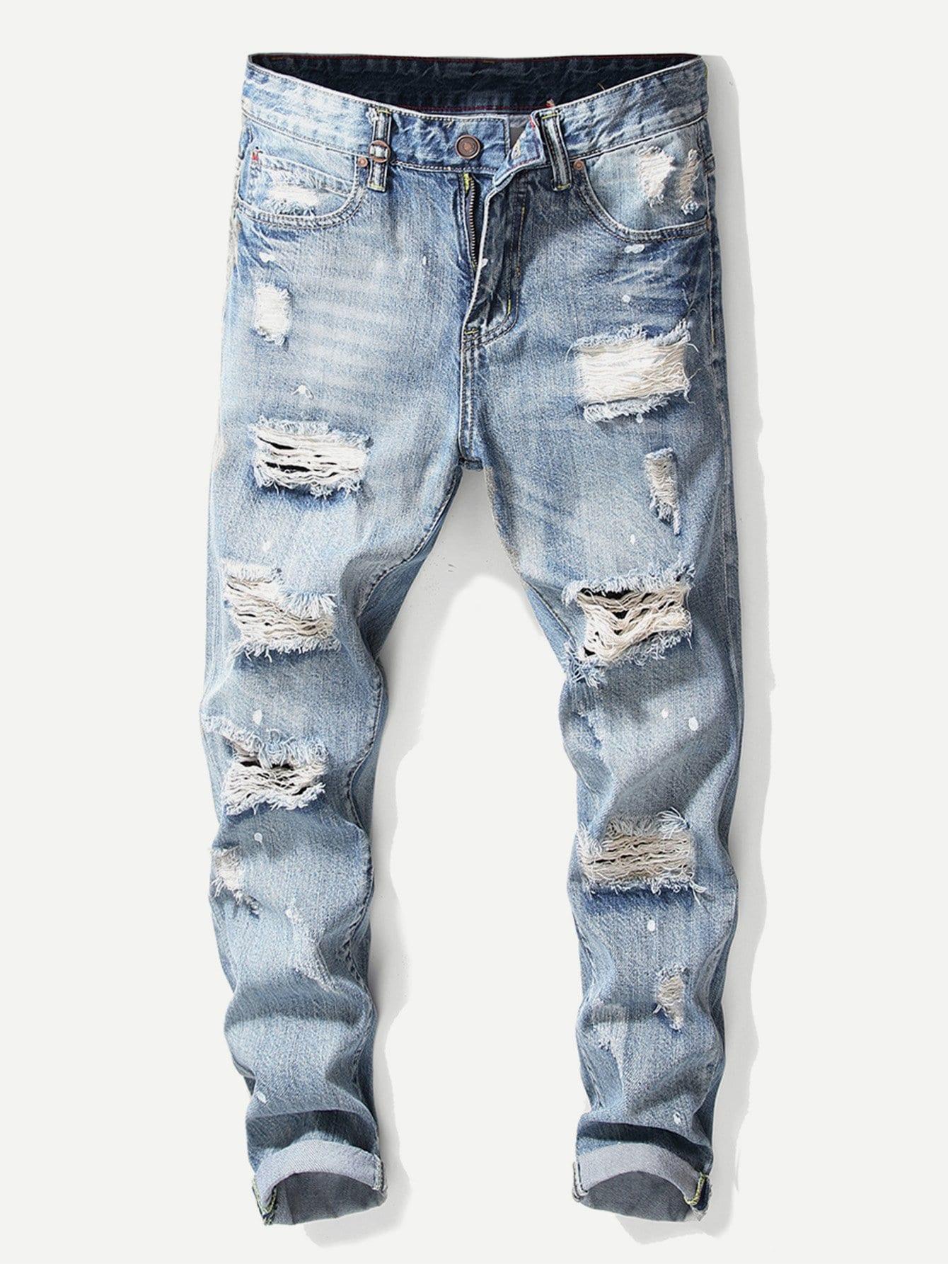 Купить Рваные полотняные джинсы для мужчины, null, SheIn