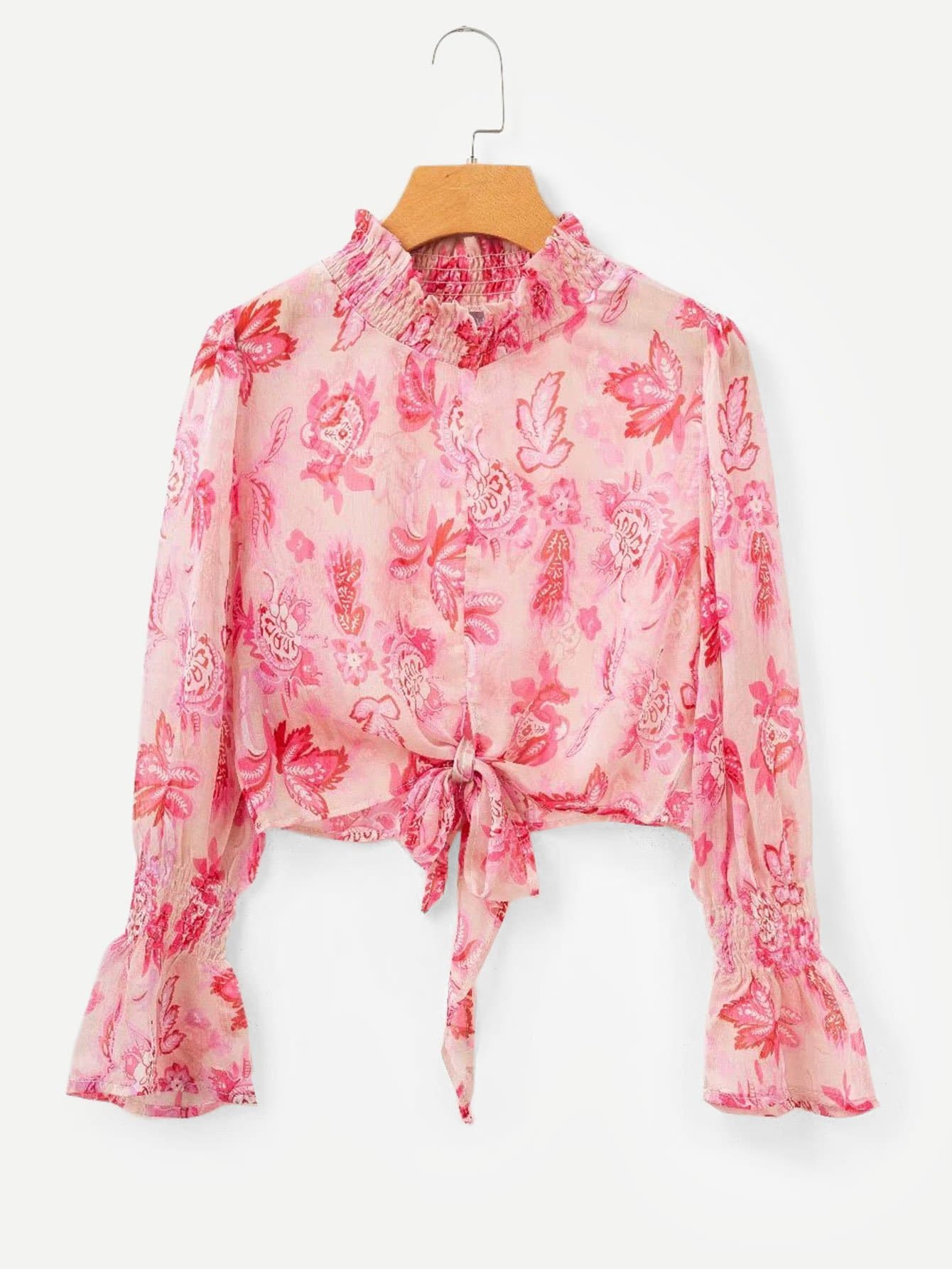 Купить Общая ситцевая блуза с бантом, null, SheIn