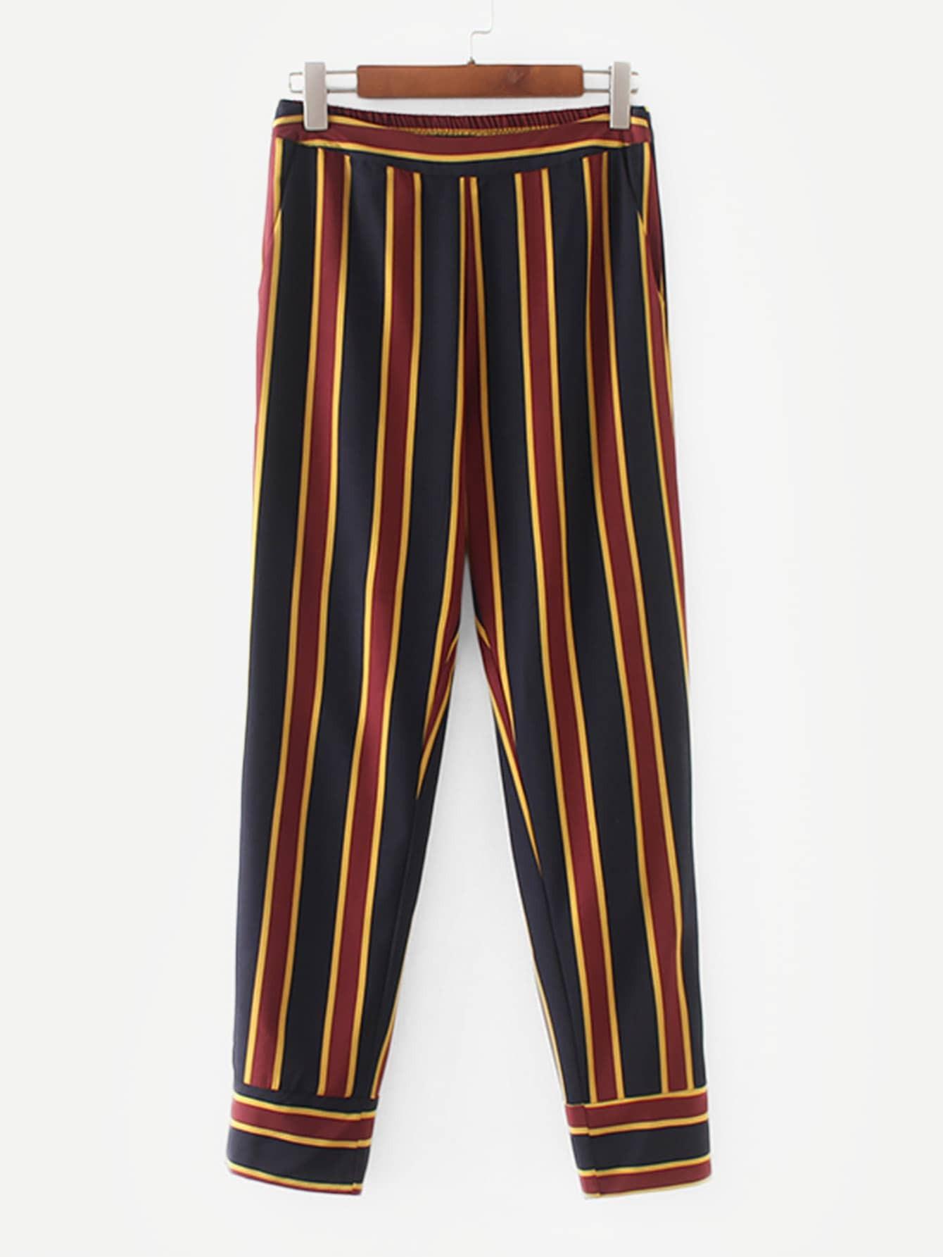 Купить Много-полосатые брюки с басоном эластичным, null, SheIn