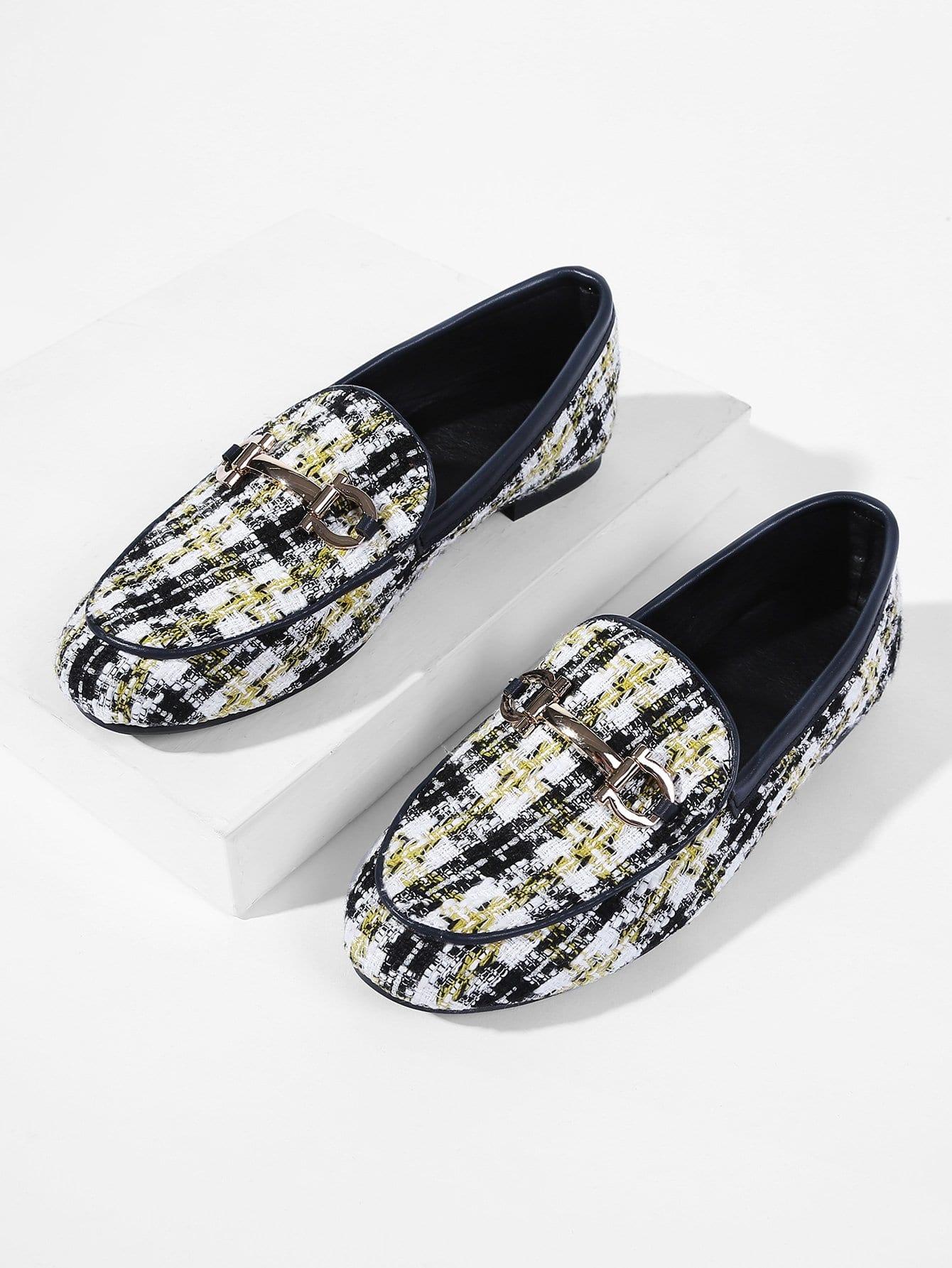Купить Туфли на плоской подошве из твида и с украшением металла, null, SheIn