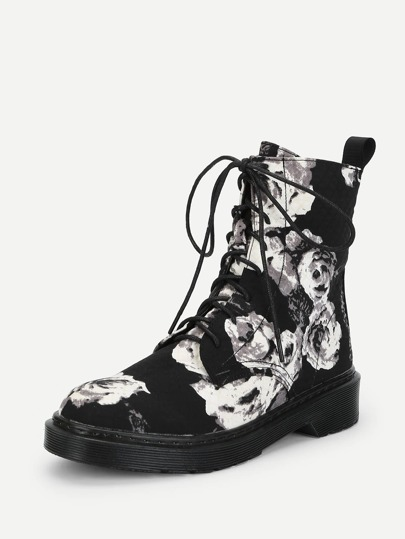 Romwe / Flower Print Lace Up Boots