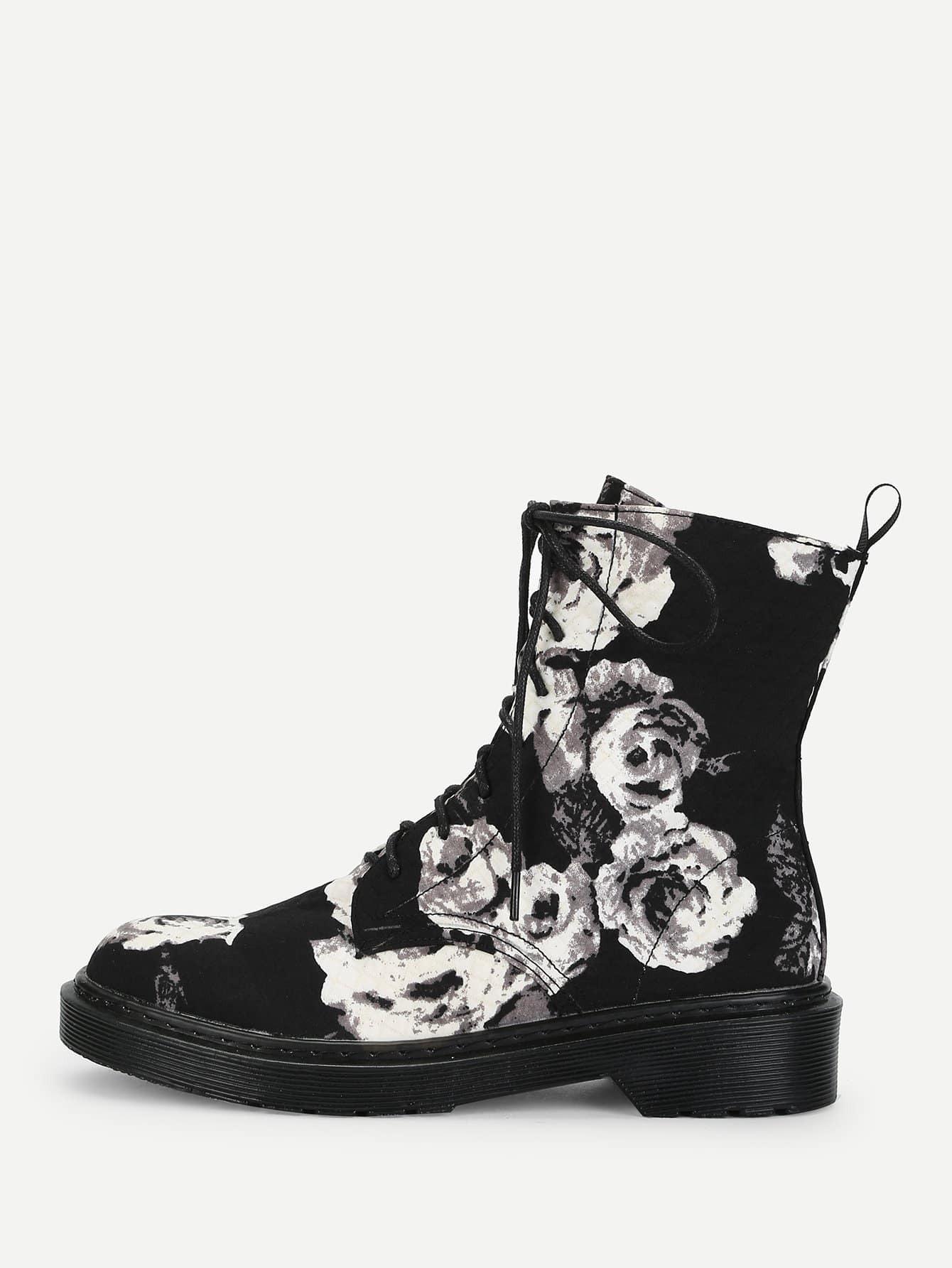 Купить Сапоги с шнурками и с рисунками цветов, null, SheIn