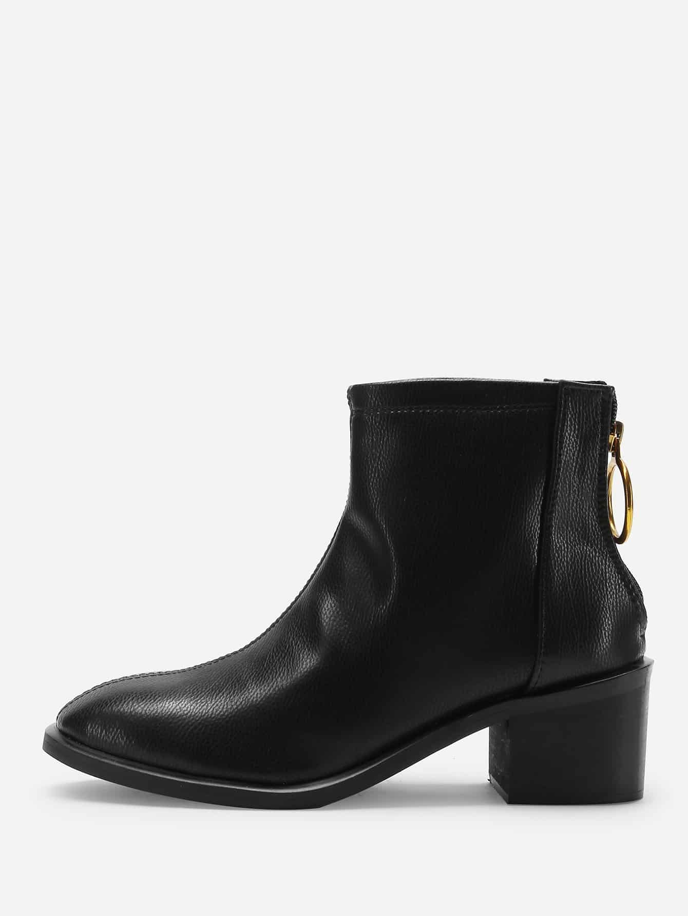 Back Zipper Ankle Boots