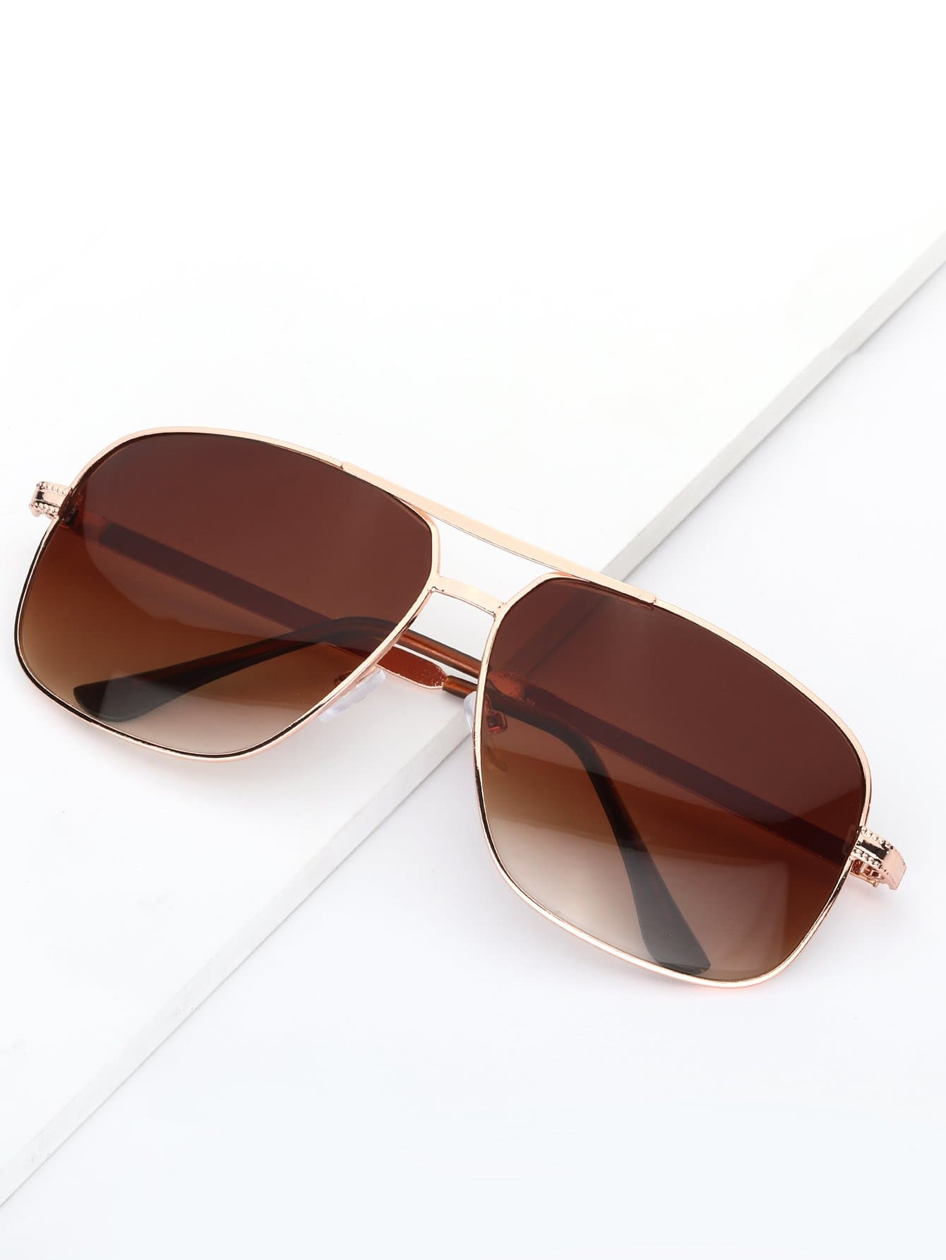 Men Double Bridge Metal Frame Sunglasses