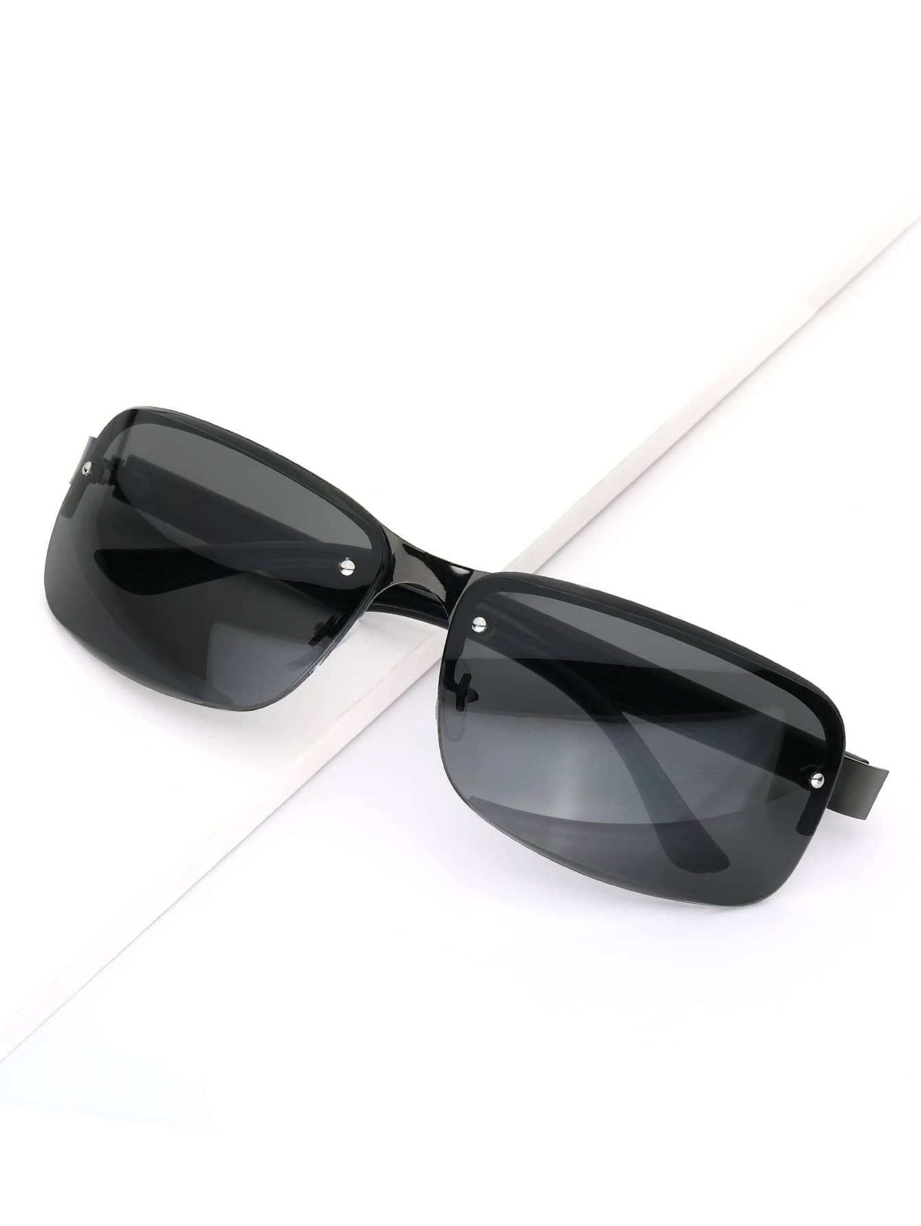 Men Invisible Metal Frame Sunglasses