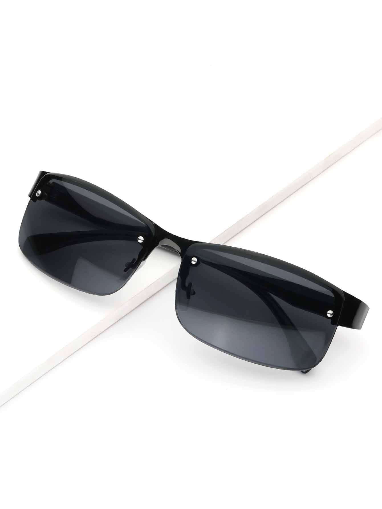 Купить Солнцезащитные очки с невидимыми металлическими оправами для мужчины, null, SheIn