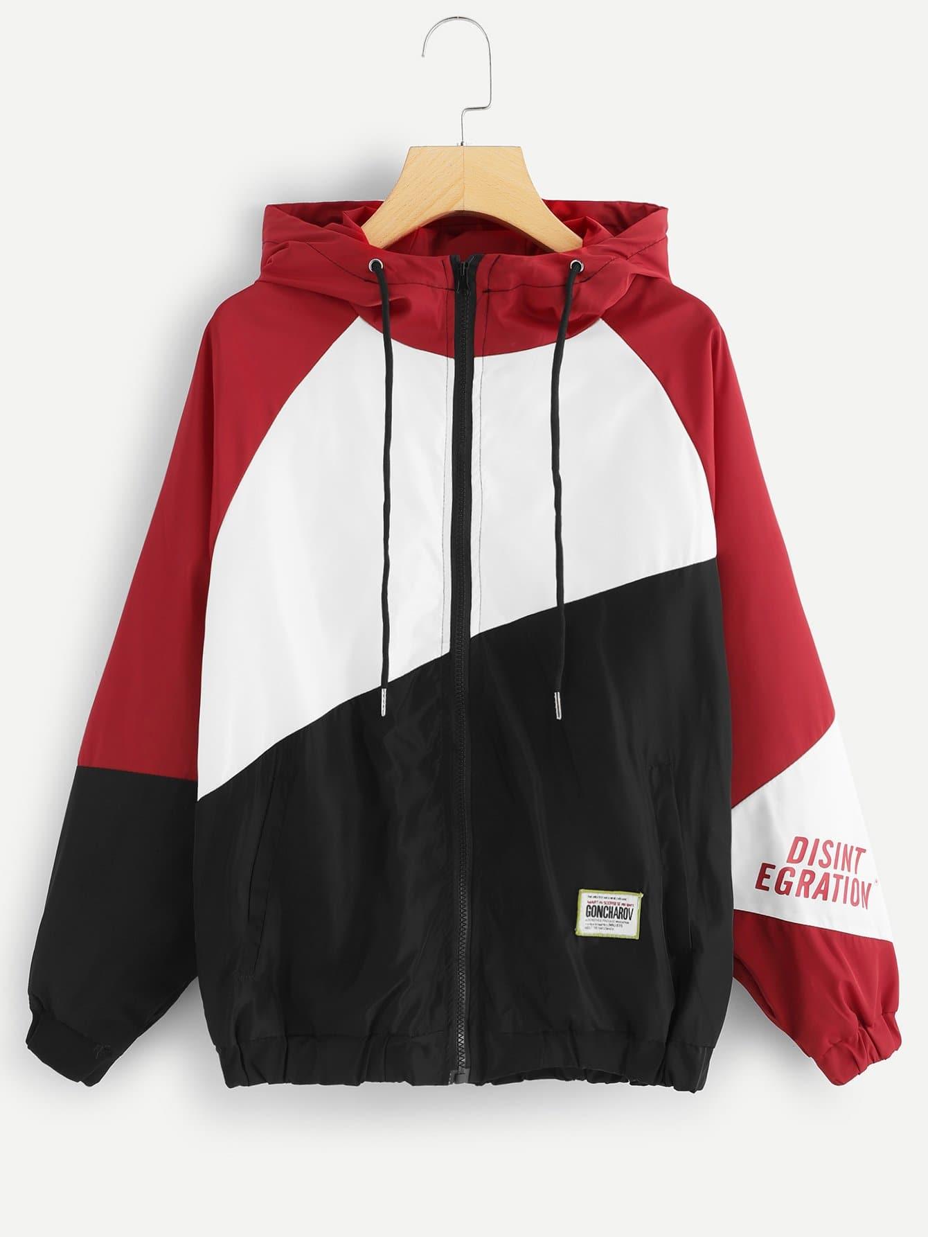 Cut und Sew Jacke mit Buchstaben Muster und Kapuze