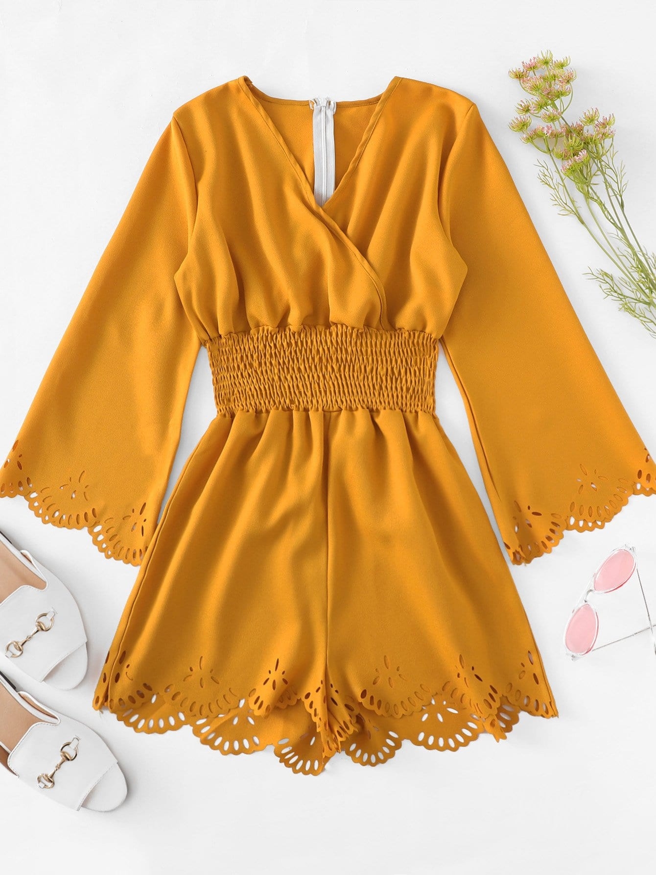 Laser Cut Out Surplice Neckline Romper