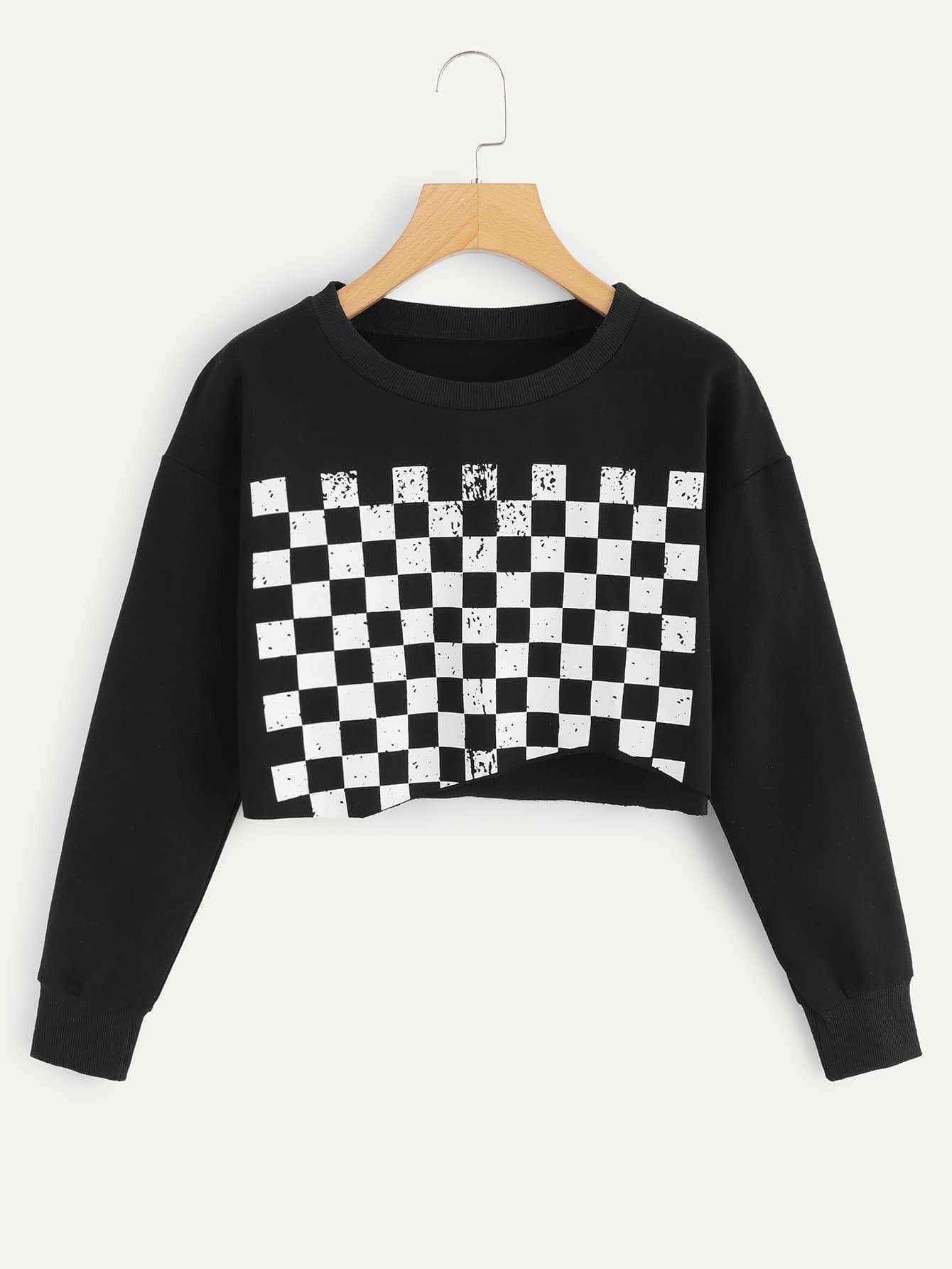 Asymmetrischer Ungesämuter Crop Pullover mit Karo Muster und Saum