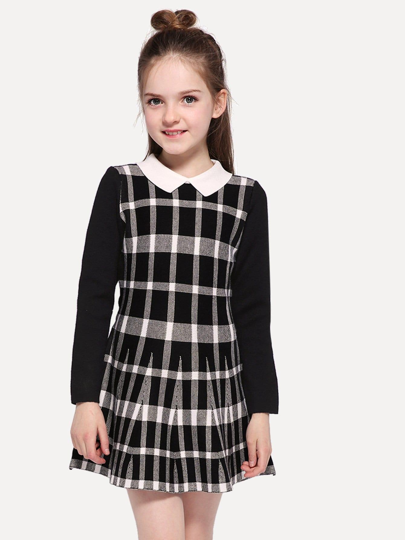 Купить Платье в клетку и с длинными рукавами для девочки, null, SheIn