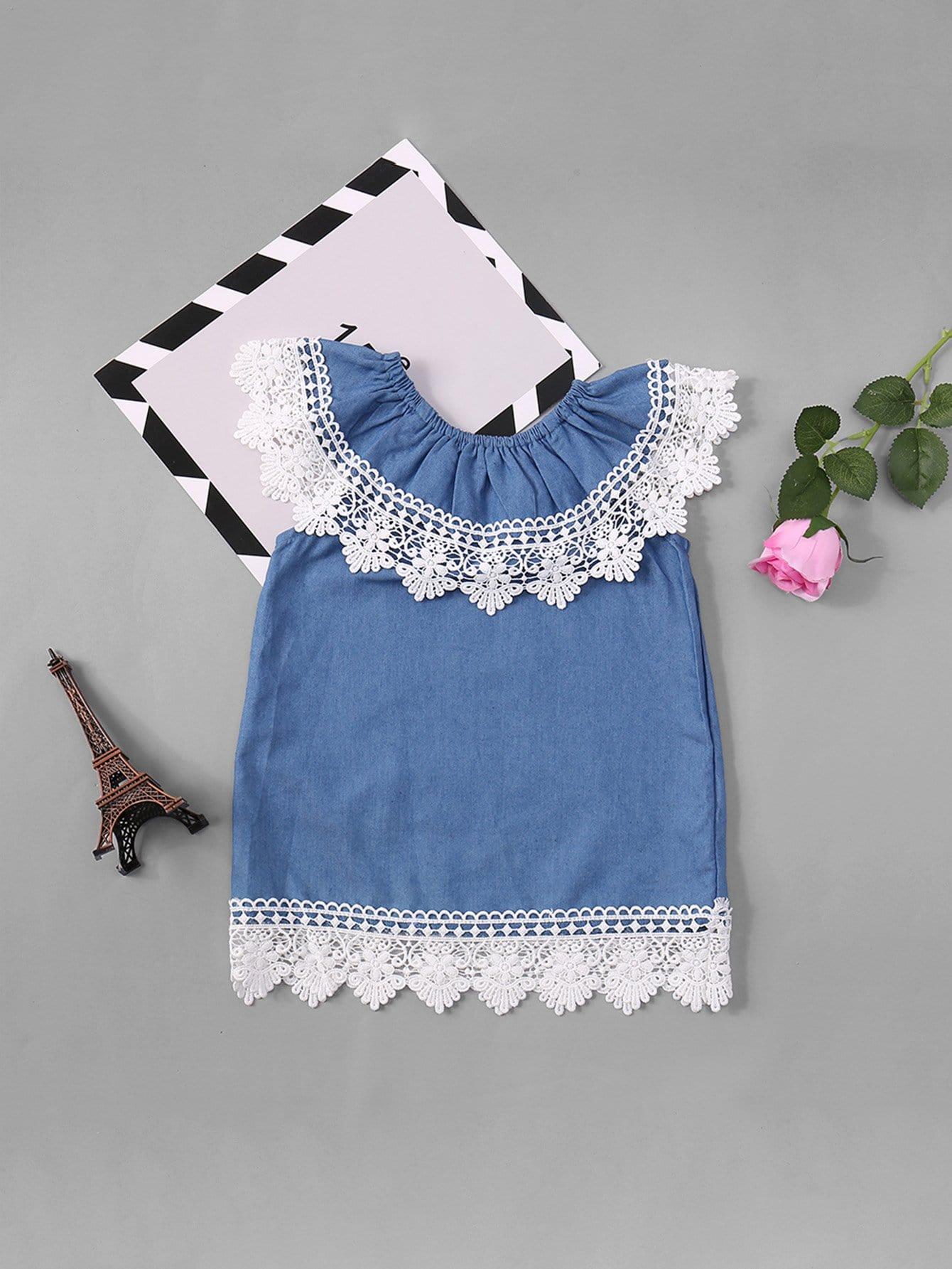 Girls Off Shoulder Lace Trim Dress