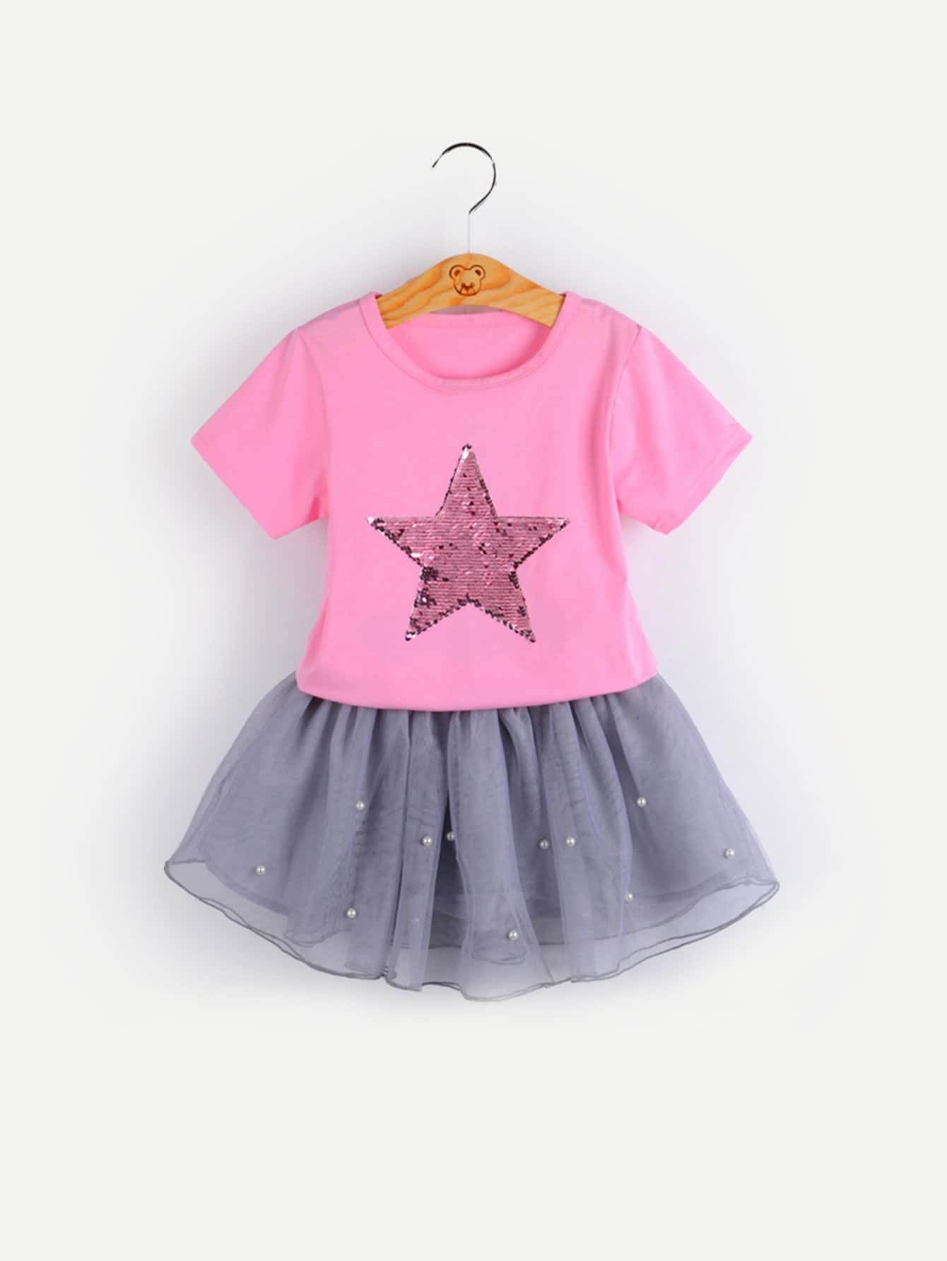 Girls Contrast Sequin Tee With Pearl Beaded Skirt