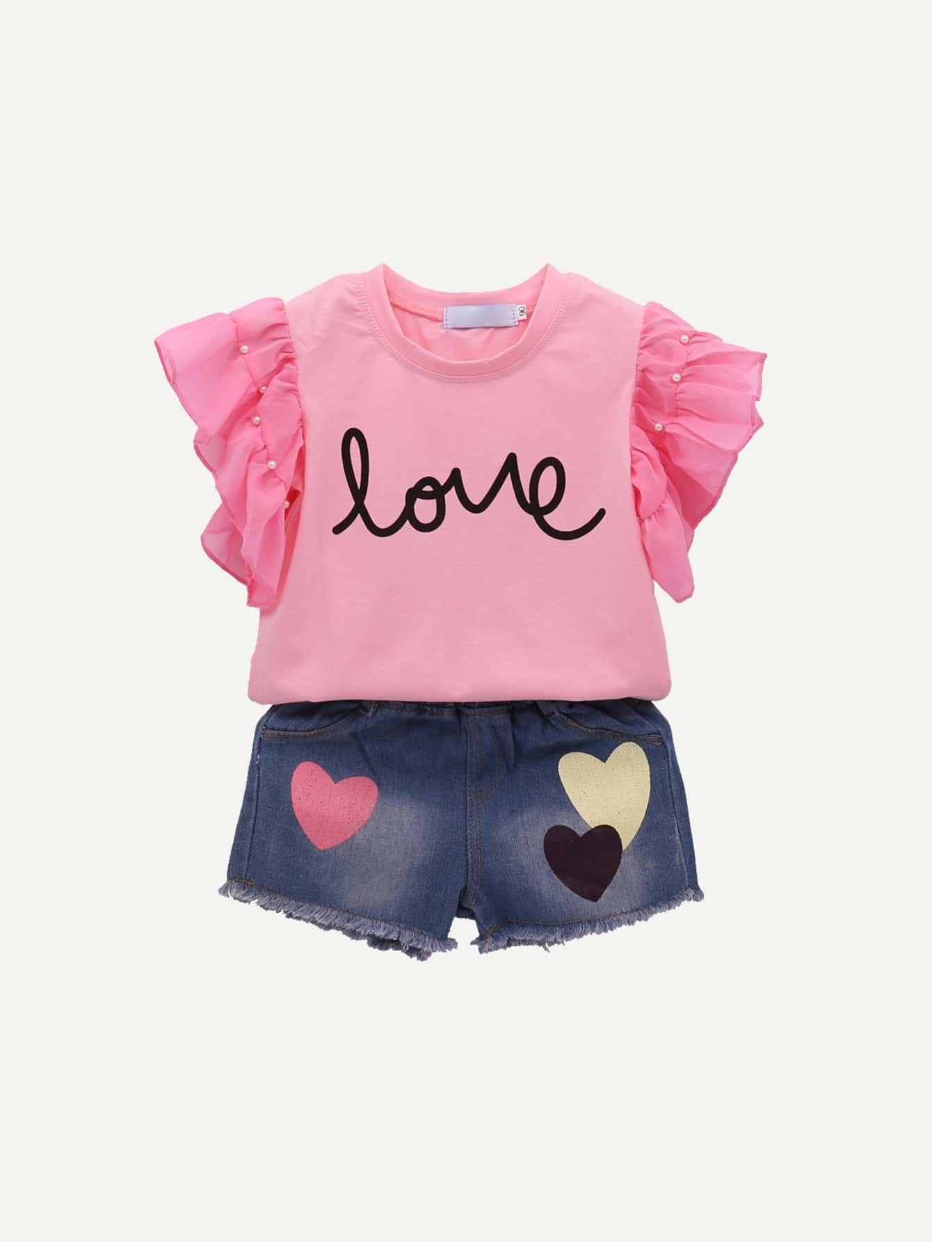 Girls Ruffle Sleeve Letter Print Top With Denim Shorts