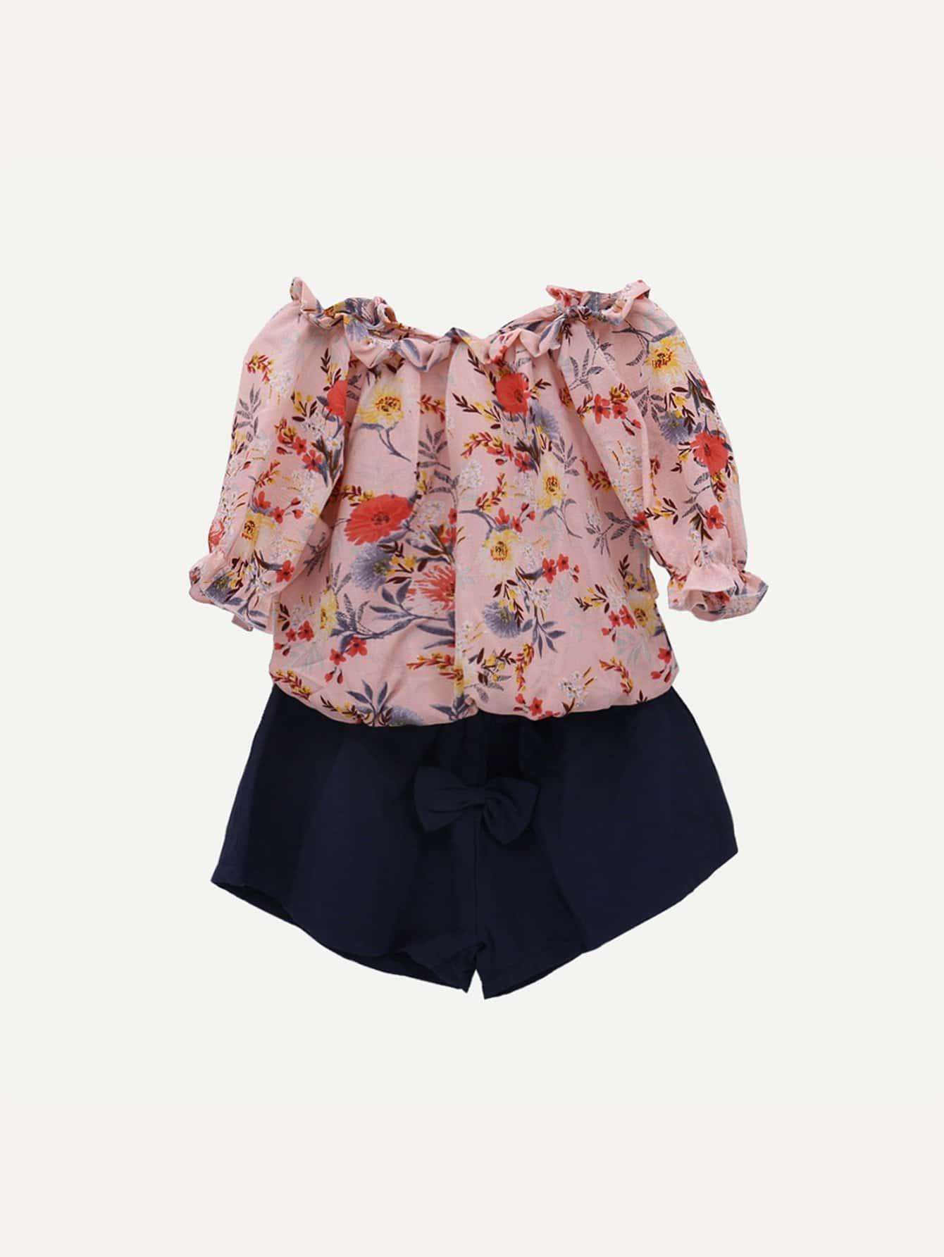 Girls Floral Print Off Shoulder Top With Shorts