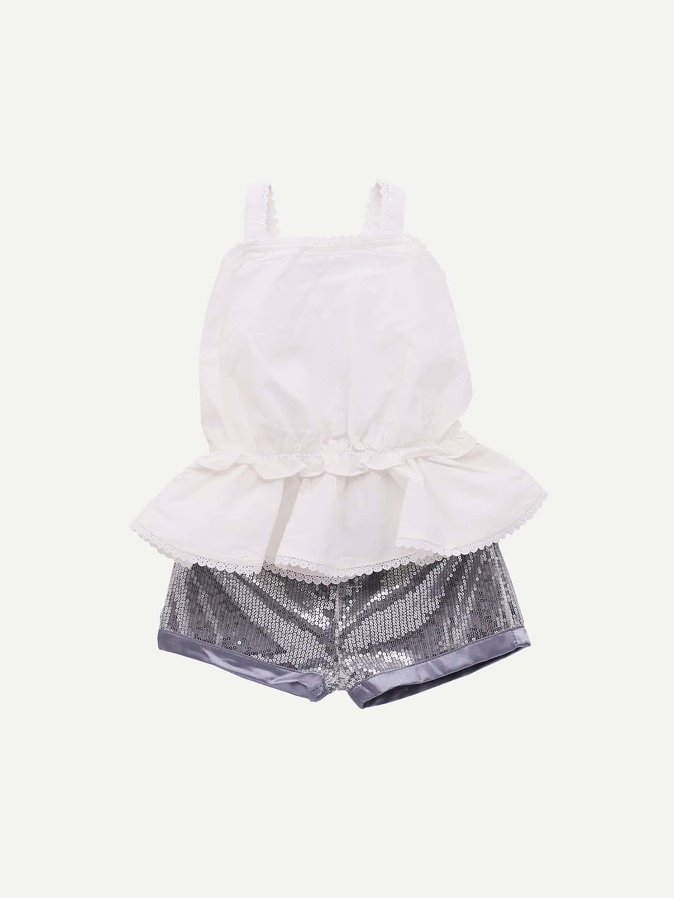 Блуза с открытой спиной и кружевными оборками шорты для девочки