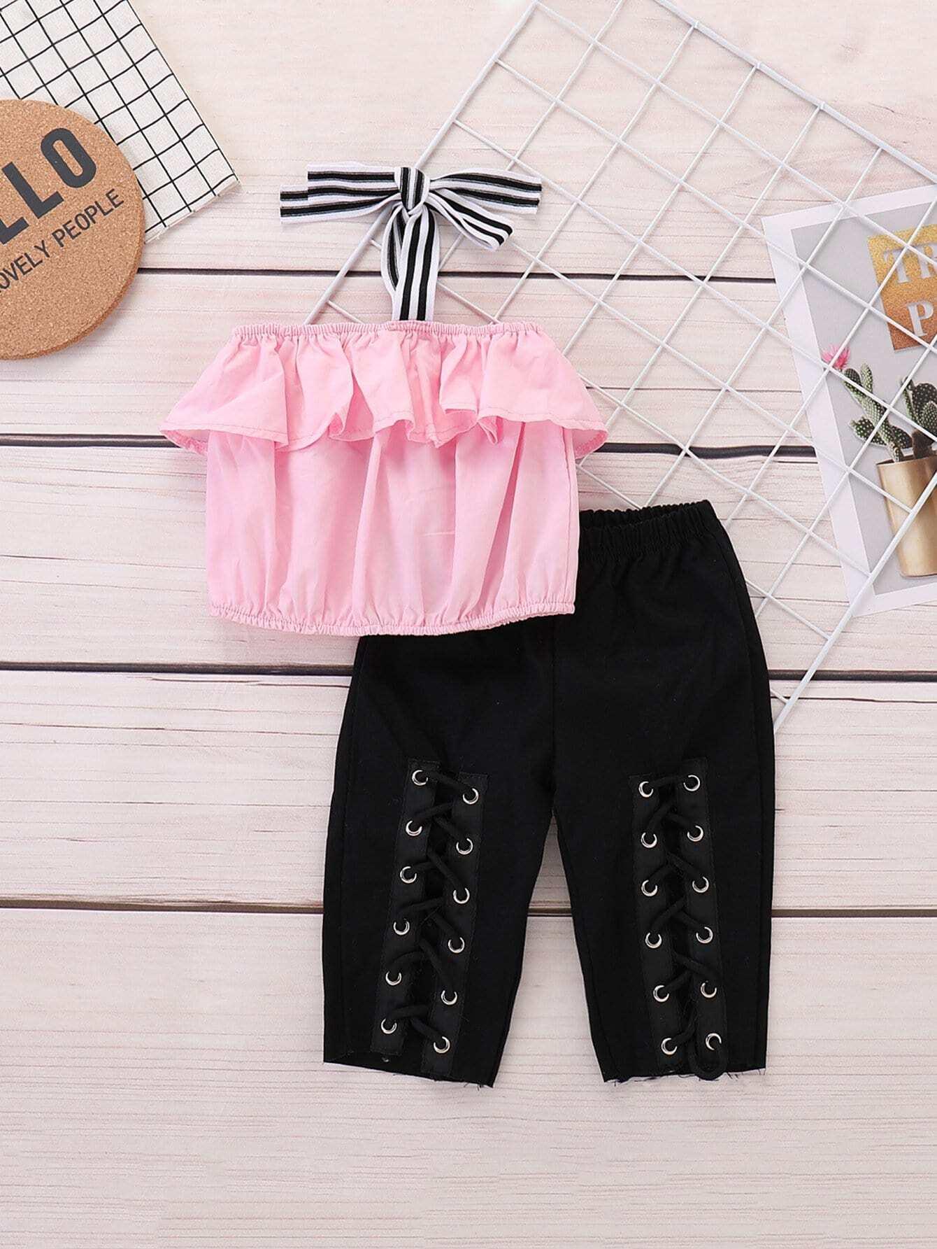 Блуза-халтер с кружевными оборками и брюки шнурками для девочки