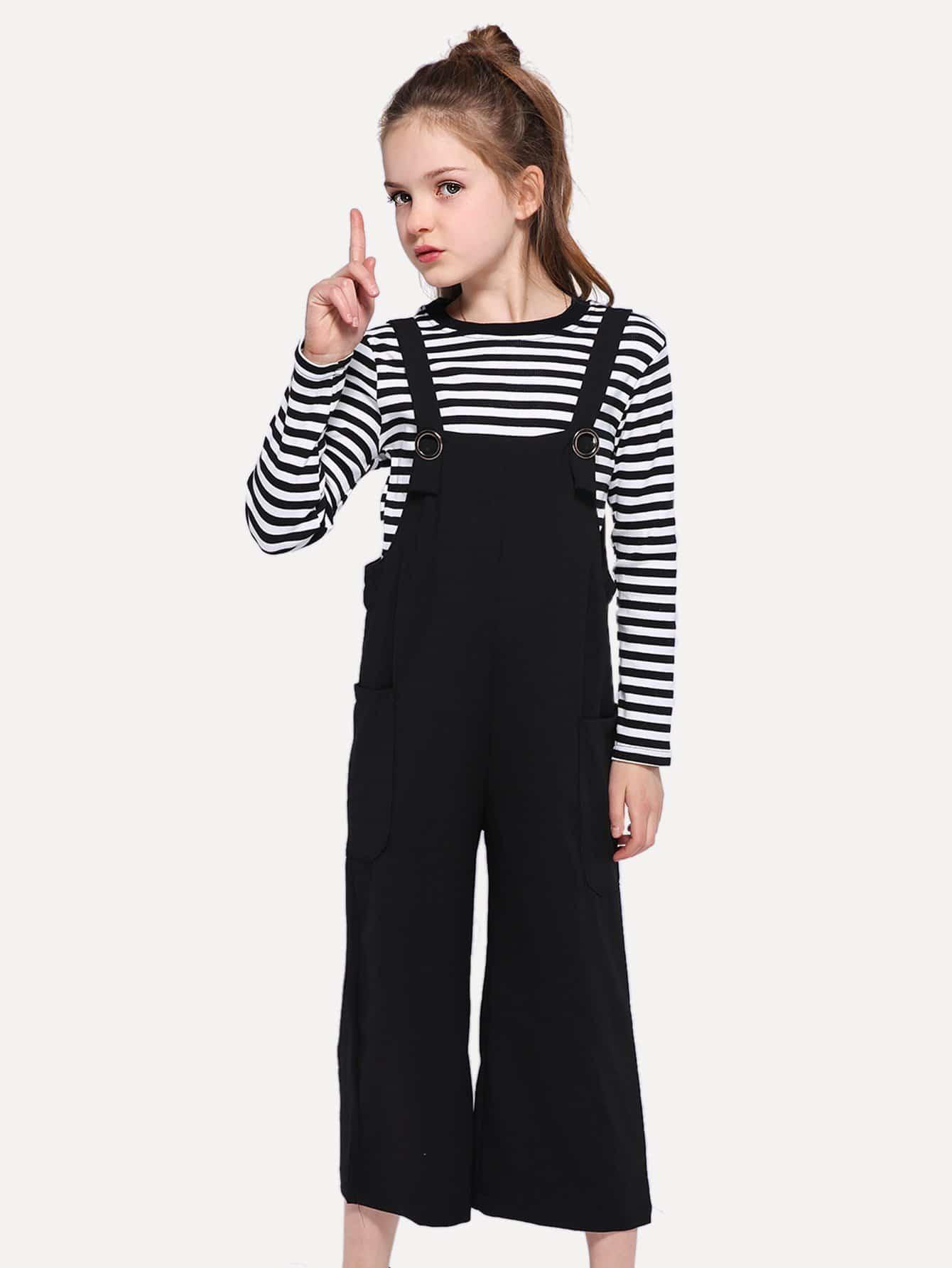 Купить Полосатая блуза и комбинезон для девочки, null, SheIn